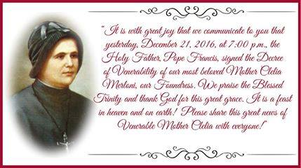The announcement of Mother Clelia's venerability on the Apostles of the Sacred Heart of Jesus Facebook page