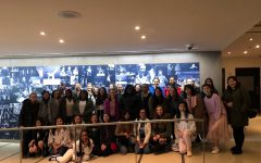 The SHA Choir in the Julliard School following the amazing musical performance they had just heard.